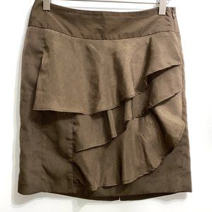 The Limited sz 0 ruffled brown silky skirt 62B8